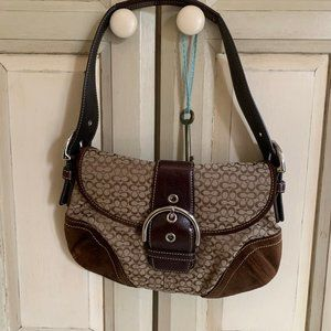 coach signature shoulder bag with buckle